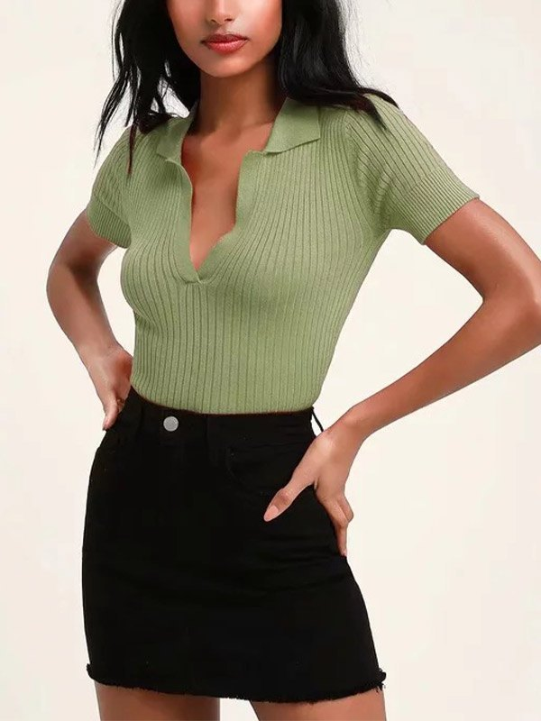 Short Sleeve Ribbed Cropped Knit - Green M