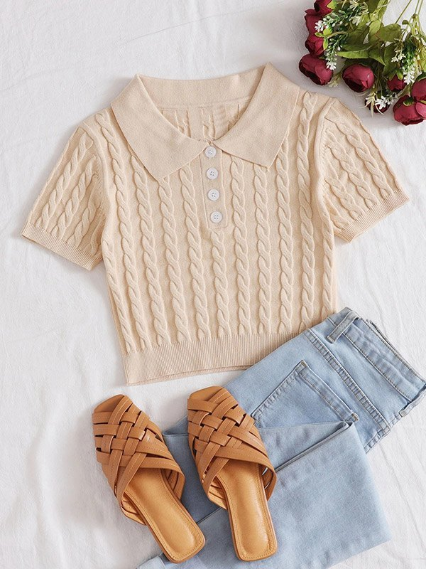 Cable Knit Cropped Short Sleeve Top - Apricot M