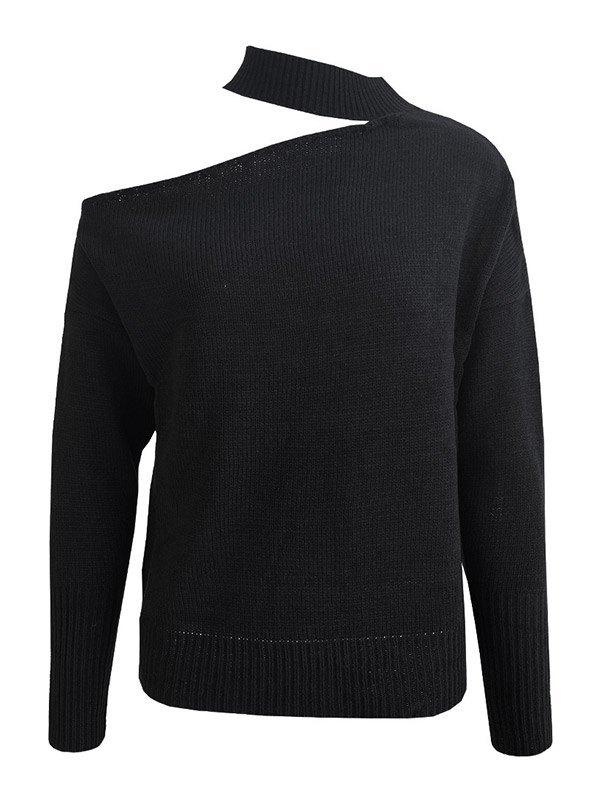 Cutout Irregular Knit Sweater - Black S