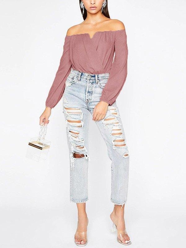 Off Shoulder Glitter Wrap Bodysuit - Pink L
