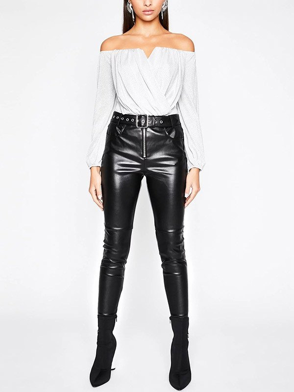 Off Shoulder Glitter Wrap Bodysuit - White L