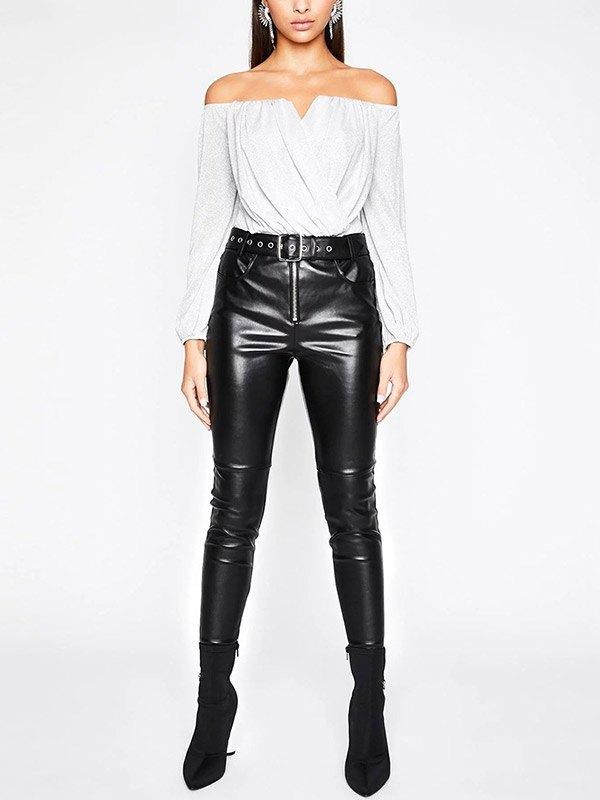 Off Shoulder Glitter Wrap Bodysuit - White M