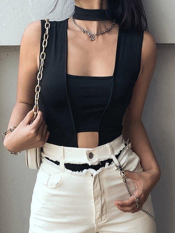 Cutout Irregular Splice Bodysuit - Black S