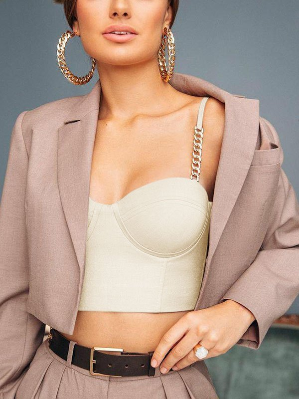 Chain Decor Cropped Bustier - White S