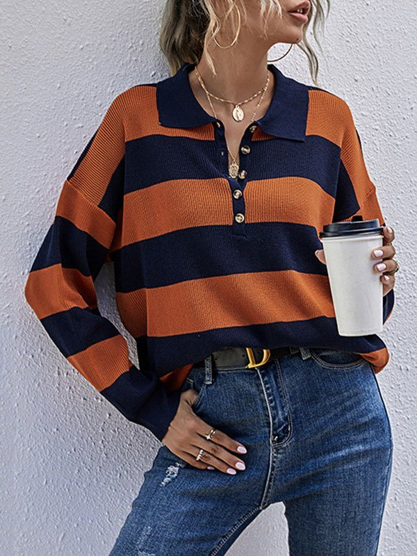 Striped Buttoned Jumper Knit - Orange M