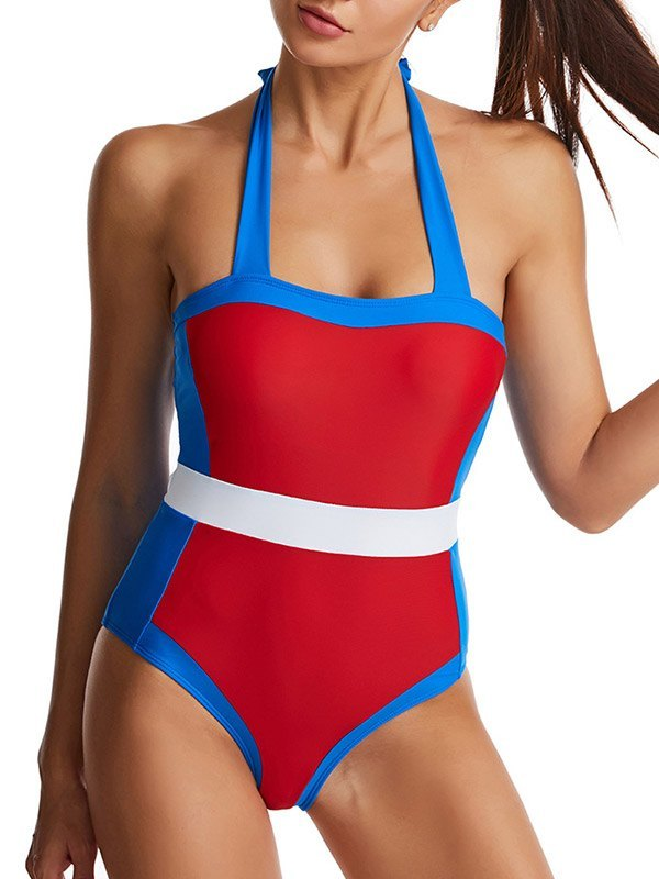Color Block Halter One-Piece Swimsuit - Red S