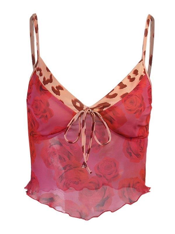 Top con canotta corta in rete rosa - Rosso S