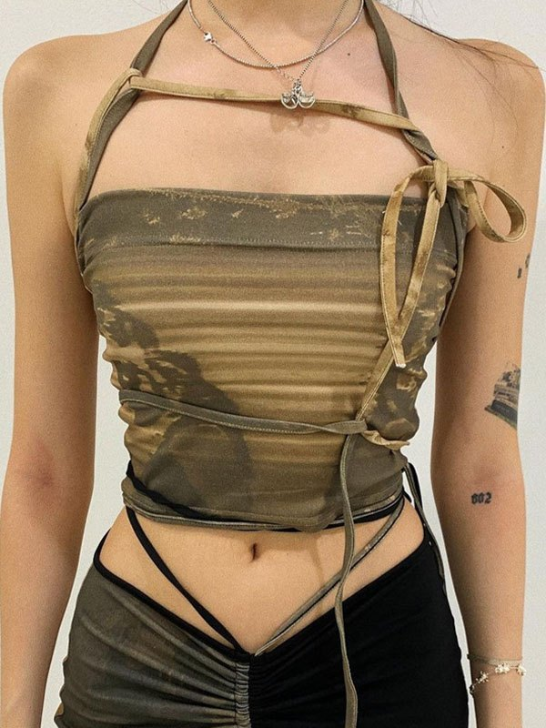 Lace-Up Bandeau Crop Cami Top - Chive S
