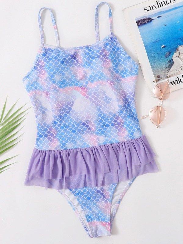 Mermaid Pattern Ruffle One-Piece Swimsuit - Lilac S