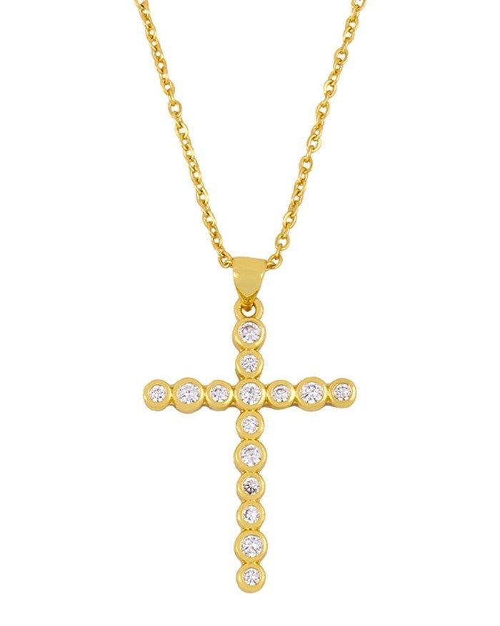 Zircon Cross Necklace -  ONE SIZE