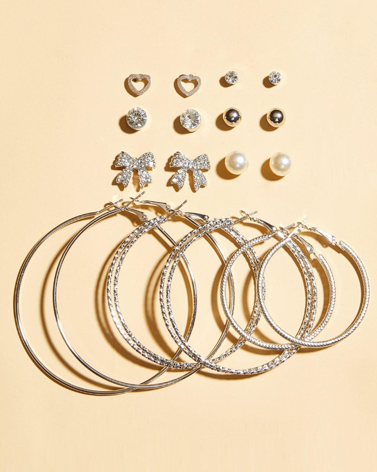 Set di orecchini a cerchio con farfalla - Argento ONE SIZE