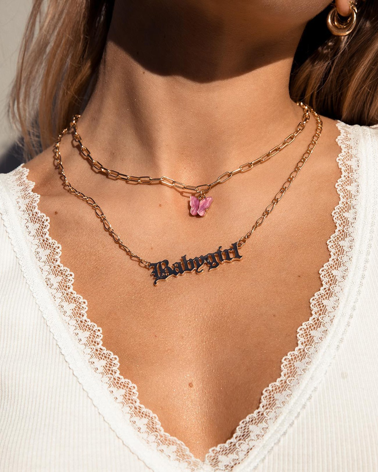 Slogan Butterfly Pendant Necklace - Pink ONE SIZE