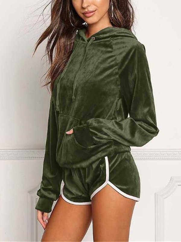 Velvet Pocket Hoodie & Shorts Pajama Set - Chive L