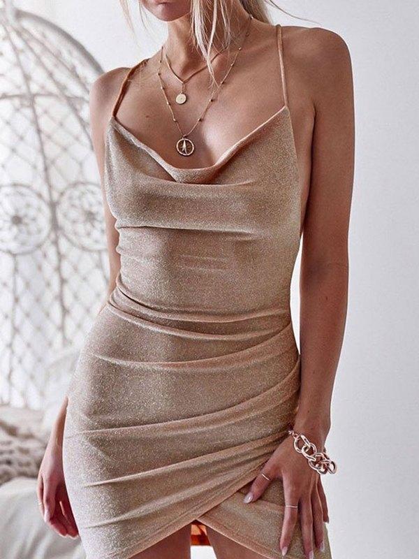 Cowl Neck Cami Mini Dress - Beige S