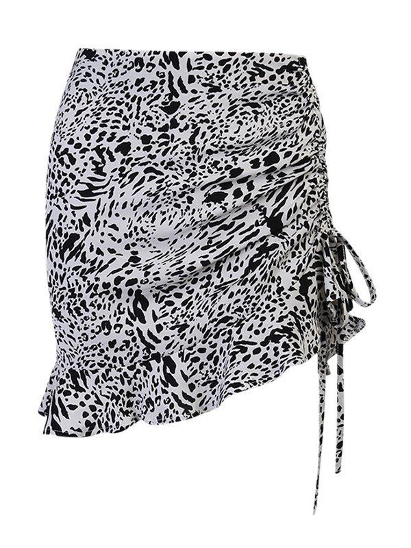 Leopard Print Side Drawstring Mini Skirt - White S