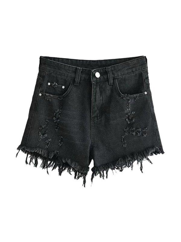 Ripped Raw Hem Denim Shorts - Black L