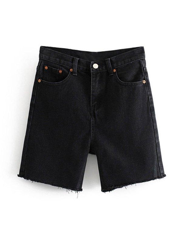 Raw Hem Denim Shorts - Black S