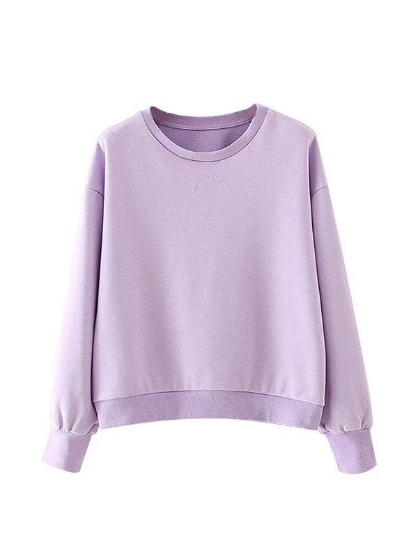 Solid Drop Shoulder Lounge Sweatshirt - Lavender S