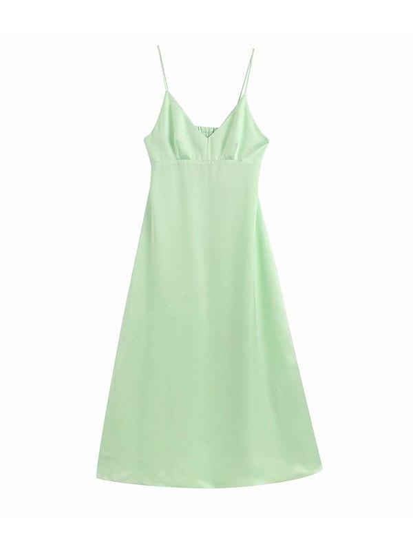 Robe camisole à découpes au dos - Vert L