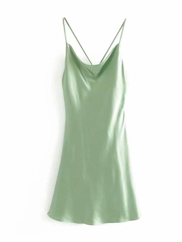 Crisscross Back Satin Mini Dress - Green M