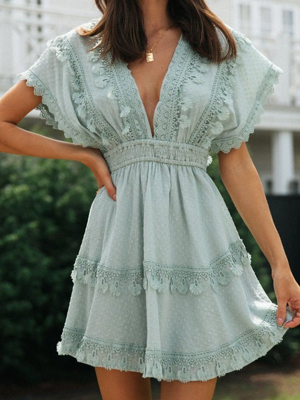 V Neck Lace Trim Dress - Blue XL