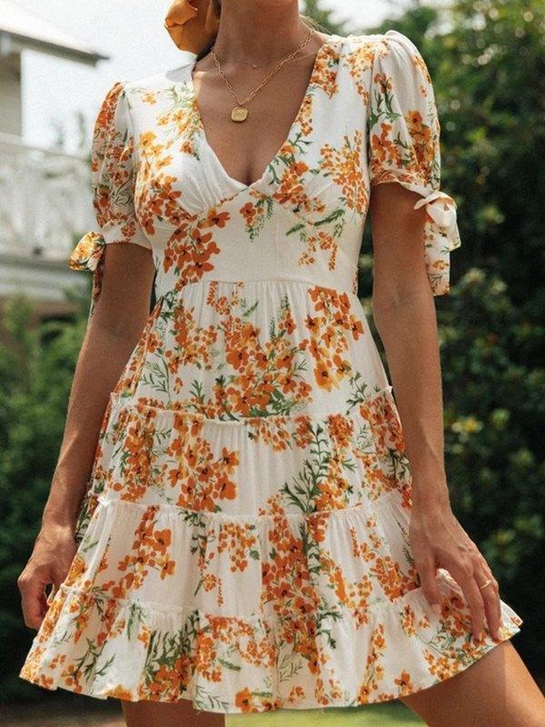 Floral Print Knot Cuff Smock Dress - Orange M