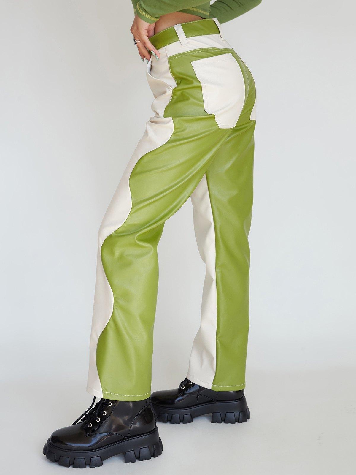 Side Waving Two-Tone PU Leather Pants -