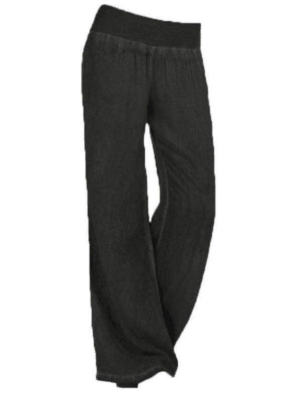 Palazzo Soft Denim Yoga Pants - Black S