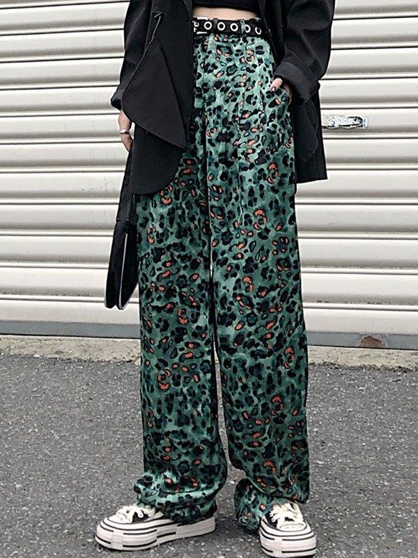 High Waist Leopard Print Wide leg Pants - Green S