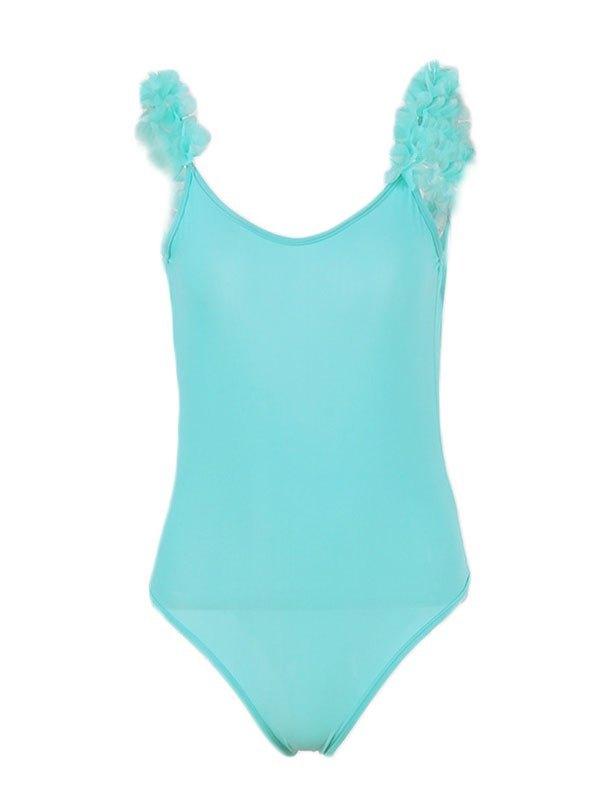 Patchwork 3D Flowers Shoulder One-Piece Swimsuit - Blue S