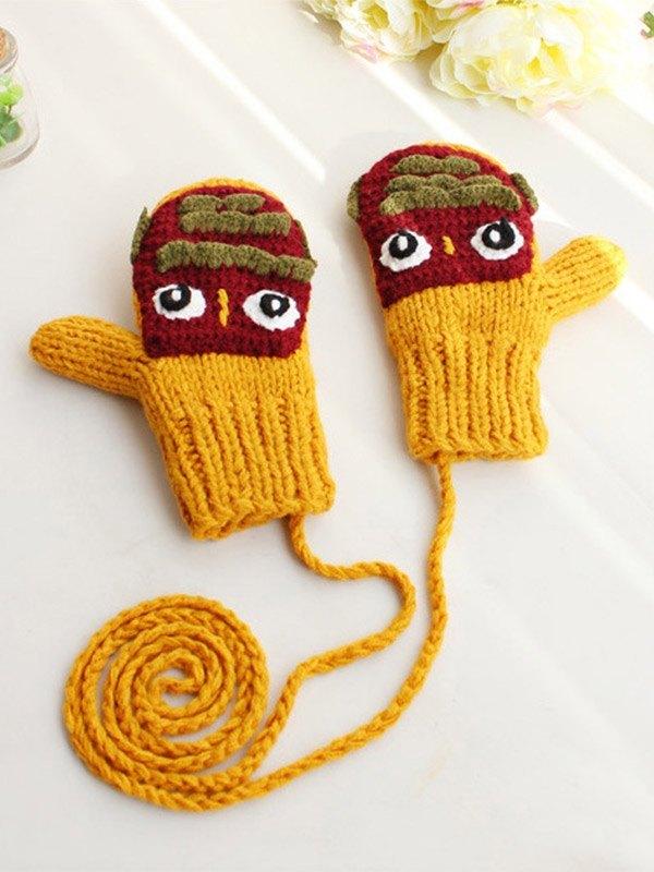Fleece Lined Cartoon Halter Gloves -  ONE SIZE