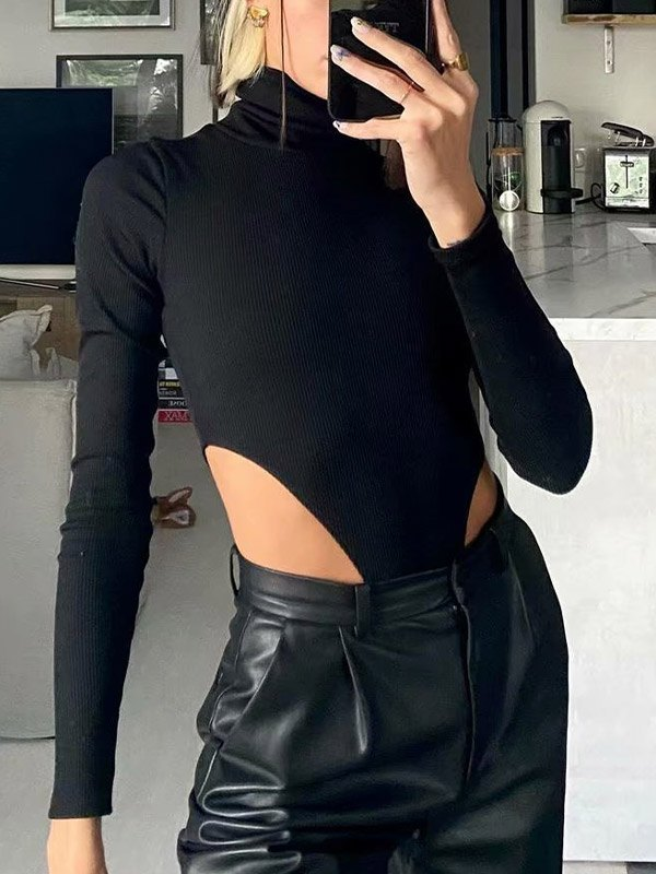 Turtleneck Ribbed Bodysuit - Black M