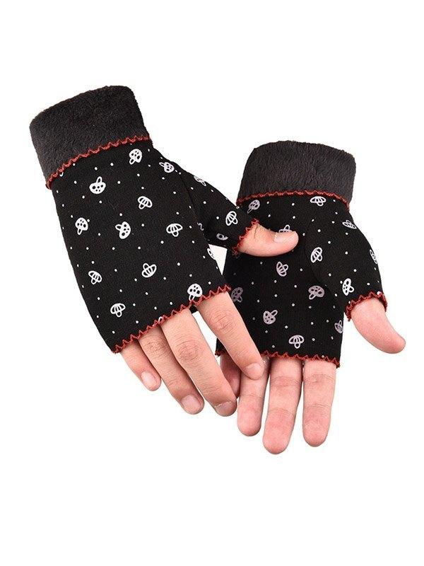 Plush Lined Printed Half-finger Gloves - Black ONE SIZE