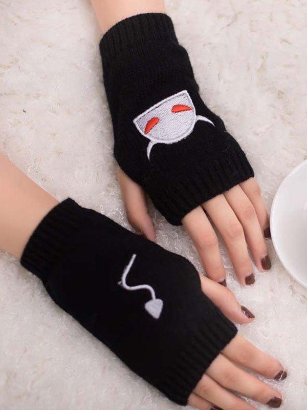 Devil Embroidery Half-finger Gloves - Black ONE SIZE