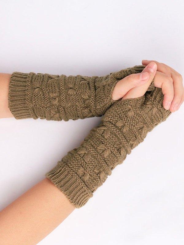 Jacquard Warm Knitted Half-finger Gloves - Khaki ONE SIZE