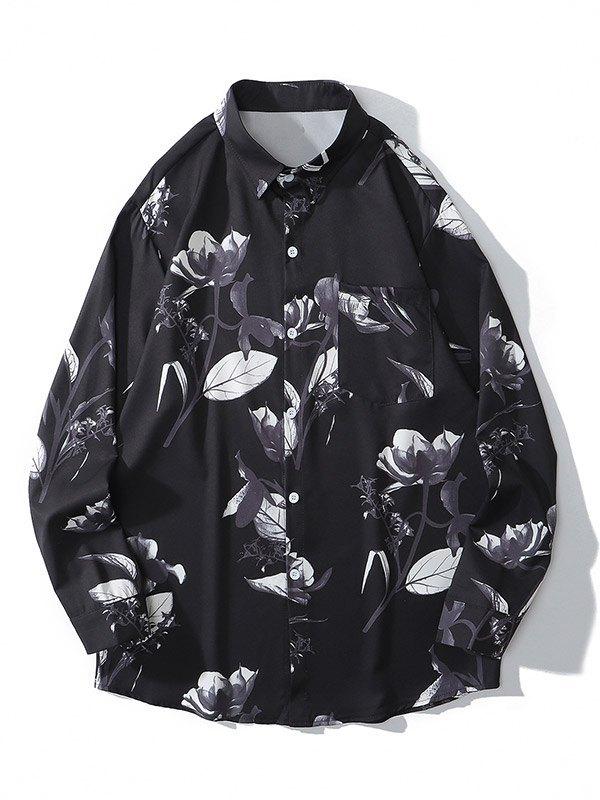 Chemise à manches longues imprimée pour hommes - Noir M