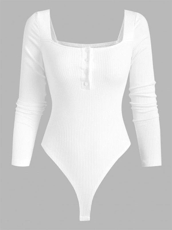 Ribbed Long Sleeve Buttoned Bodysuit - White M