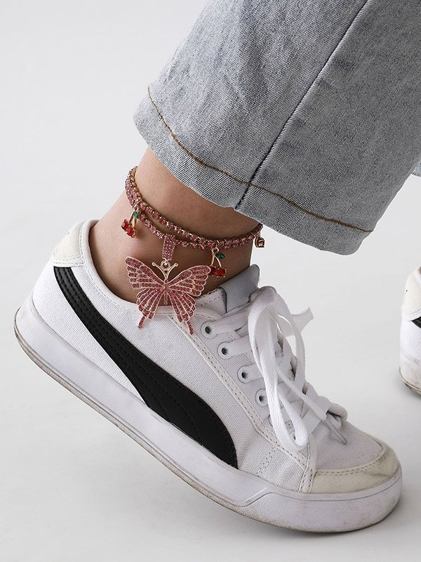 Rhinestone Butterfly Cherry Charm Anklet -  ONE SIZE