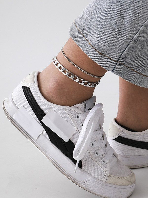 Minimalist Double Layer Anklet - Silver ONE SIZE