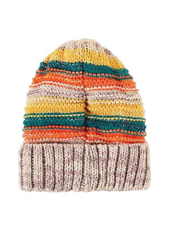 Berretto caldo lavorato a maglia a righe arcobaleno - Come l\'immagine ONE SIZE