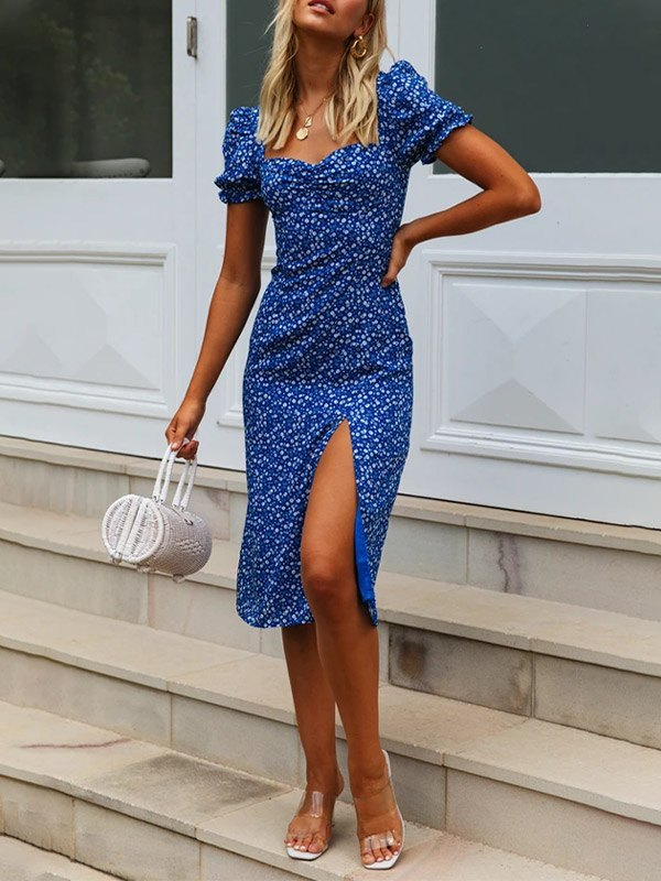 Ditsy Floral Split Midi Dress -