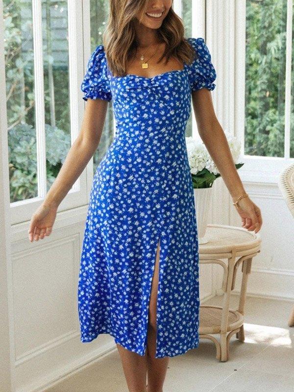 Robe midi à manches courtes à imprimé floral - Bleu S