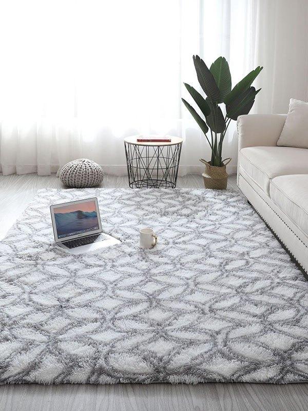 Printed Plush Rectangle Lounge Carpet - Gray 80*160