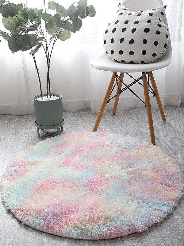 Tie-Dye Round Plush Carpet - As The Picture 80*80