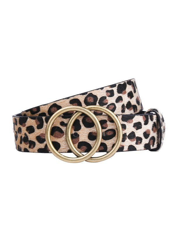 Cintura con doppia fibbia tonda leopardata - Leopardato S