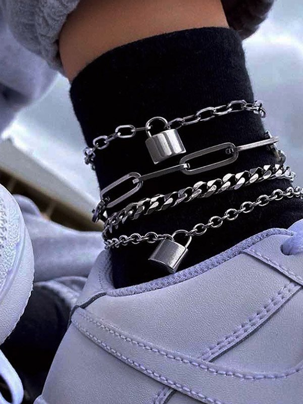 Lock-Shaped Decor Multi Layered Anklet -  ONE SIZE