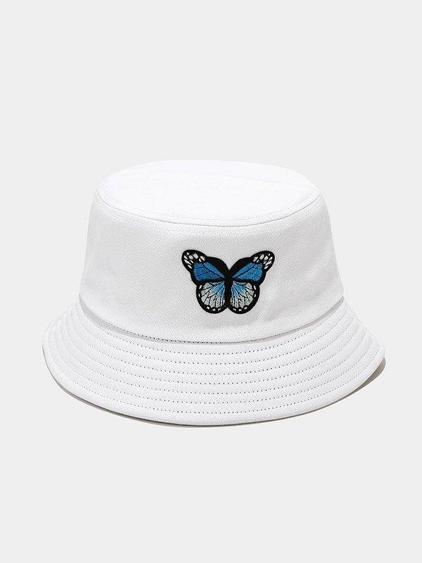 Cappello da pescatore con patch farfalla - Bianca ONE SIZE