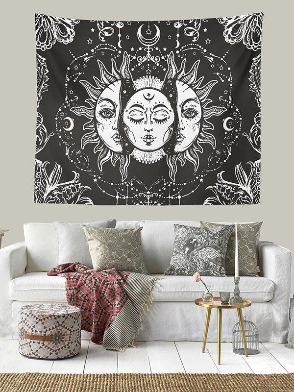 Sun Moon Print Tapestry - Black 150*130