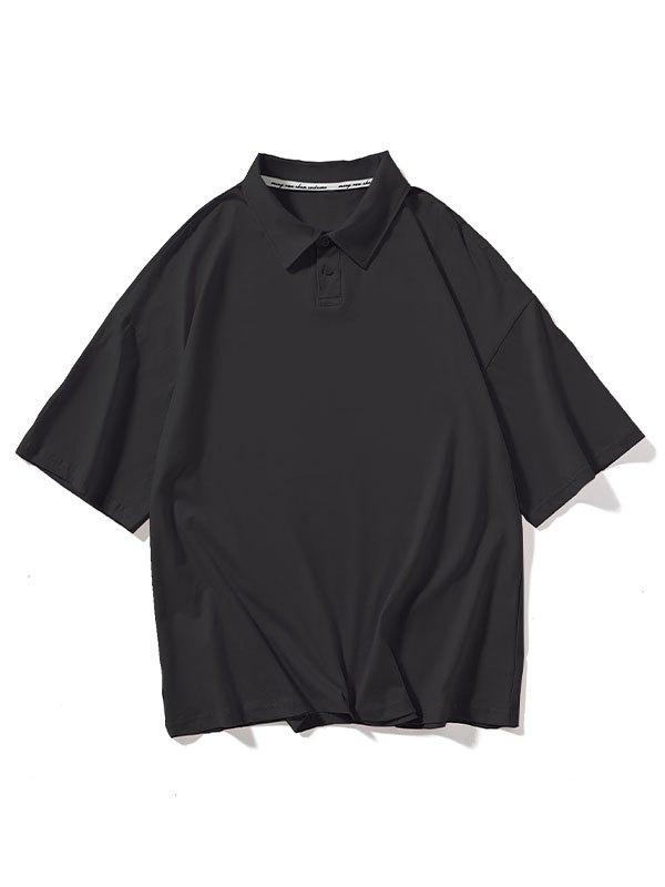 Men's Polo Neck Solid Tee - Black S