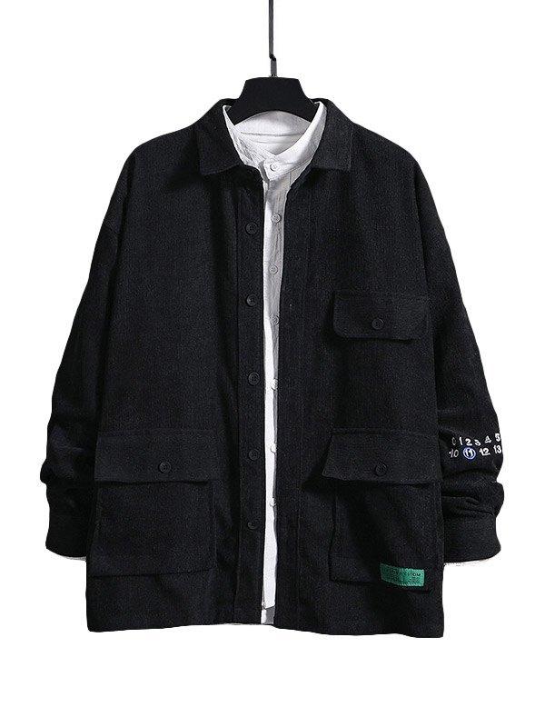 Chemise à manches longues avec poche pour hommes - Noir M